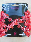 Stretch Double Beaded Hair Comb Reds & Pink Multi Colored NEW
