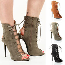Womens ladies evening party stiletto high heel lace tie up peep toe shoes size