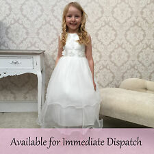 Satin Lace Flowergirl Christening Bridesmaid Party Formal Sleeveless Dress Ivy