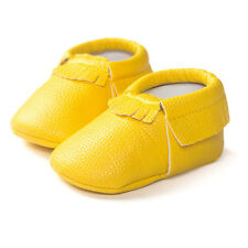 Unisex Baby Tassel Soft Sole Leather Shoes Infant Boy Girl Toddler Moccasin 0-18