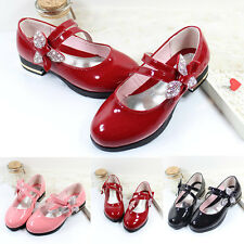 Children Kids Girls Velcro Lace Rhinestone Sneakers Princess Dress Bowknot Shoes