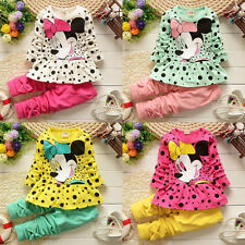 Baby Girls Cute Minnie Mouse Dress Kids Cartoon Dot Tops Pants Clothes Outfits