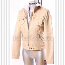 Ashley Beige Ladies Women's New Material Fleece Hooded Real Leather Jacket