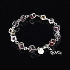 New Women 925 Sterling Silver Plated Charm Crystal Chain Fashion Bracelet Bangle
