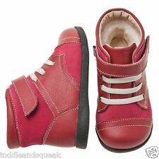 Little Blue Lamb Girls Infant Red+Cream Laces Toddler Boots/Shoes