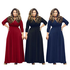 Plus Size Sexy Women's V Neck Long Sleeve Bandage Evening Party Long Maxi Dress