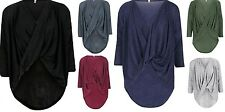 NEW WOMENS LADIES FRONT CROSS WRAP OVER BAGGY DIP HEM OVER SIZED TAIL SLINKY TOP