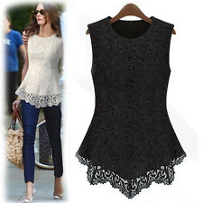 New Sexy Hollow Out Lace Floral Womens Sleevess Vest Tops Shirt Blouse Casual