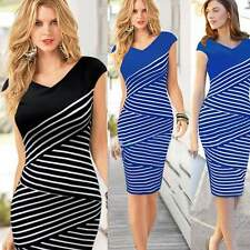 Women New Sexy Bodycon Bandage Striped Cocktail Evening Party Midi Pencil Dress