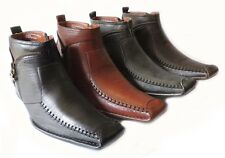 NEW *FERRO ALDO* MENS HIGH ANKLE BOOTS SLIP ON LEATHER LINED ZIPPER DRESS SHOES