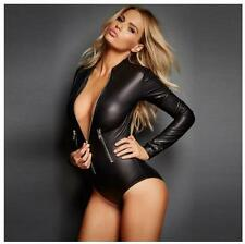 Sexy Womens Front Zipper Black Faux Leather Jumpsuit
