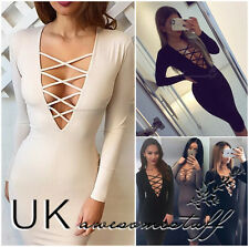 UK Womens Bodycon Pencil Dress Ladies Evening Party Bandage Dress Size 6 - 14