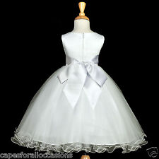 WHITE COMMUNION EASTER BAPTISM WEDDING FLOWER GIRL DRESS 12-18M 2 3T 4 5T 6 8 10