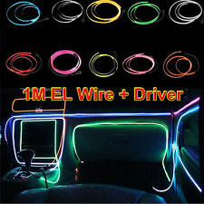 1M Flessibile EL Wire Neon Light Dance Car Bar Xmas Party Decor + 12V Controller