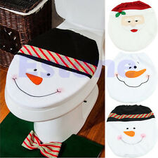 New Santa Claus Toilet Seat Cover Rug Bathroom Set Christmas Decoration Gifts