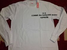 SUPREME 2015 F/W BOX LOGO CDG COMME DES GARCONS SHIRT HOODED LS TEE S-XL WHITE
