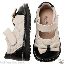 Girls Toddler Little Blue Lamb Cream + Black Bow Leather Lined Squeaky Shoes