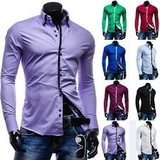 Cool Mens Casual Formal Suit Slim Fit Long Sleeve Double Collar Dress Shirt Top