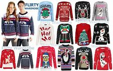 Unisex Christmas Jumpers Olaf Minion Reindeer X-mas Knitted Tops Winter Jumper