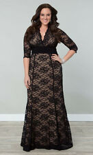Plus Size Women's Sexy V Neck Long Sleeve Bandage Evening Party Lace Maxi Dress
