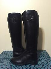Tory Burch Grace Riding Women's Black Leather Fashion Knee High Tall Boots