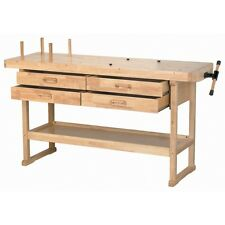 """60"""" Hardwood Workbench With 4 Lined Drawers & 7"""" Wood Block Vise DYI Woodworking"""