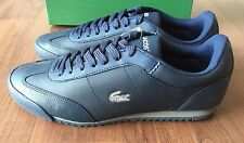 Mens Lacoste Shoes Blue Leather Romeau Croc Casual Shoes Fashion Sneakers New