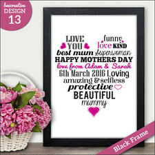 Personalised Heart Print Mum Mummy Mothers Day Gifts - Keepsake Presents Cards