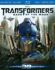 TRANSFORMERS DARK OF THE MOON 3D BLU-RAY DVD 4 DISC SET + LENTICUALR SLIPCOVER