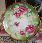 """Antique CORONET Limoges Hand Painted11 3/4"""" Charger Cake Plate poppies&daisie"""