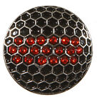 Black Golf Ball Marker with Red Crystals & Magnetic Hat Clip
