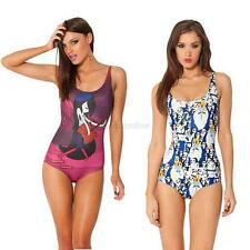 Sexy Women One-Piece Jumpsuit Punk Rock 3D Print Bodysuit Swimwear Swimsuit E66
