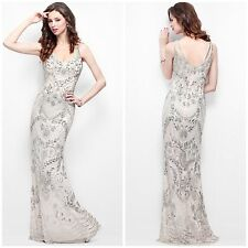 NWT PRIMAVERA COUTURE 1402 LONG NUDE GOWN GREAT GATSBY STYLE HAND BEADED $598
