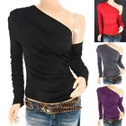 Trendy Ruched One Shoulder Long Sleeves Hippie Casual Top Blouse