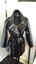 Stunning Black PVC Mac Jacket, Belt Tie with Patch Pockets