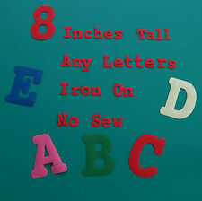 8 inch 20 cm large big iron on no sew fabric applique letters many colours