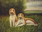 countryside dogs large oil painting canvas modern contemporary art 20 x 24 inch