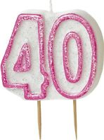 Age 40 | 40th Birthday | Pink Glitz | 40 Shape Cake Candle 1-5pk