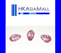 6 Swarovski Crystal Beads Pear Drops 5500 9x6mm ROSE