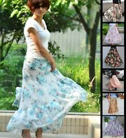 Full Circle Floral Chiffon Maxi Long Skirt 6 8 10 12 14 16 18 20 22 24 GF0689P