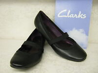 Ladies Clarks Hallo Star Black Leather Flat Smart Casual Shoes