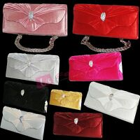 CRYSTAL SATIN SILVER GREEN PINK BLUE BLACK GOLD PURPLE EVENING CLUTCH BAG