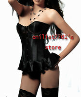 N577 Sexy Underwire Bust Bone Corset Ruffle End Bustier Lingerie,G-string, Black