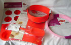 NEW 5 SET SILICONE CAKE BAKING MOULDS MAT MUFFIN PIE ROUND SPOON RED & PINK