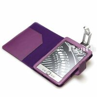 Purple Pu Leather Case Cover for Amazon Kindle 4 with Robotic Reading Light UK