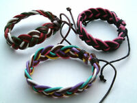 A Men's Real Leather & Cords Bracelet Wristband Tribal Surf