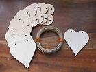 10 Wooden Heart Crafts Decoupage Decoration Hanging Shape Unpaited Tag 8cm 2HF