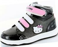 Girls Hello Kitty Sycamore Hi Top Trainers Shoe Sizes 8-2 Boot Style Black/Pink