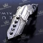 1x Vintage Silvery Armor Knuckle Cage Full Finger Ring Gothic Punk Men's Jewelry