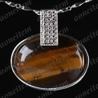 Ds08 Tiger's Eye HEM Gemstone Oval Heart Bead Pendant Charm Finding Fit Necklace